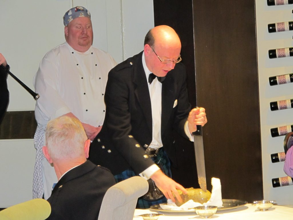 Ian participating in a Burns Supper